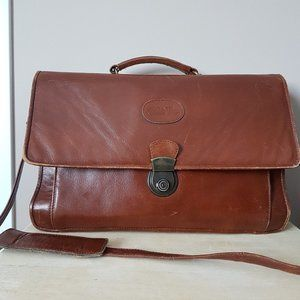 Bugatti Caramel Brown Genuine Leather Briefcase.